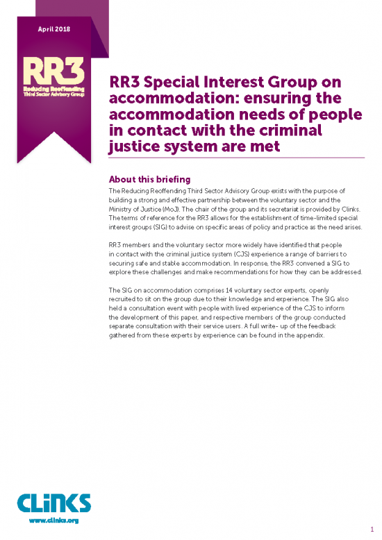 RR3 Briefing: meeting the accommodation needs of people in contact with the criminal justice system