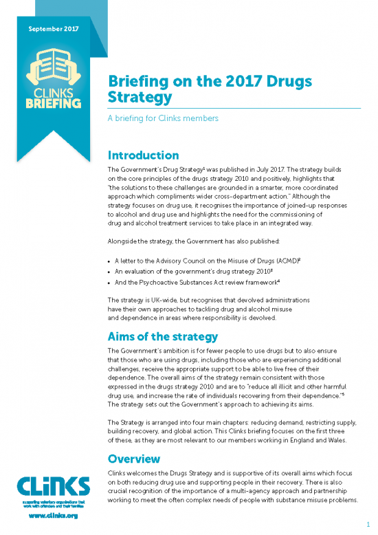 Front cover of drugs briefing