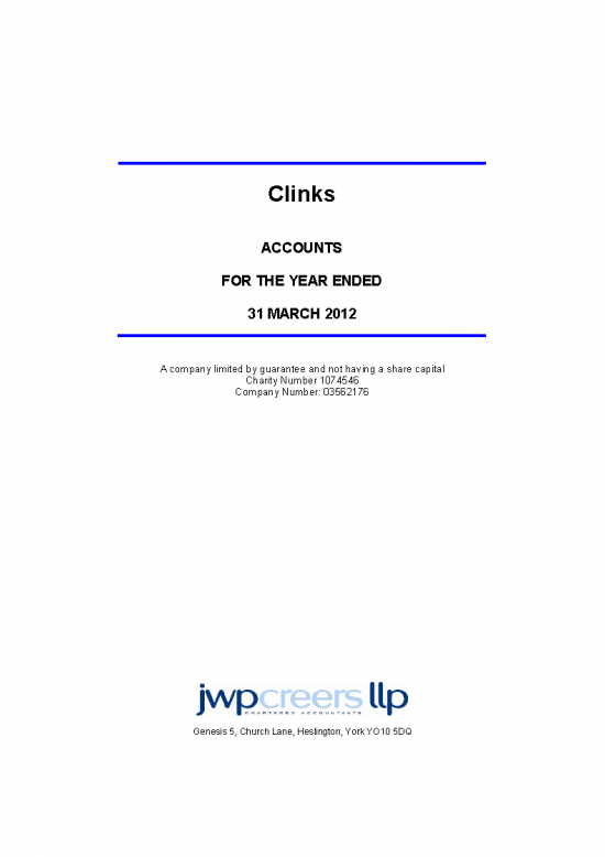 Accounts for the year ended 31st March 2012