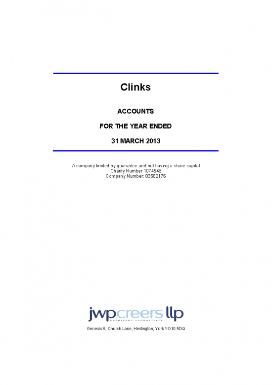 Accounts for the year ended 31st March 2013