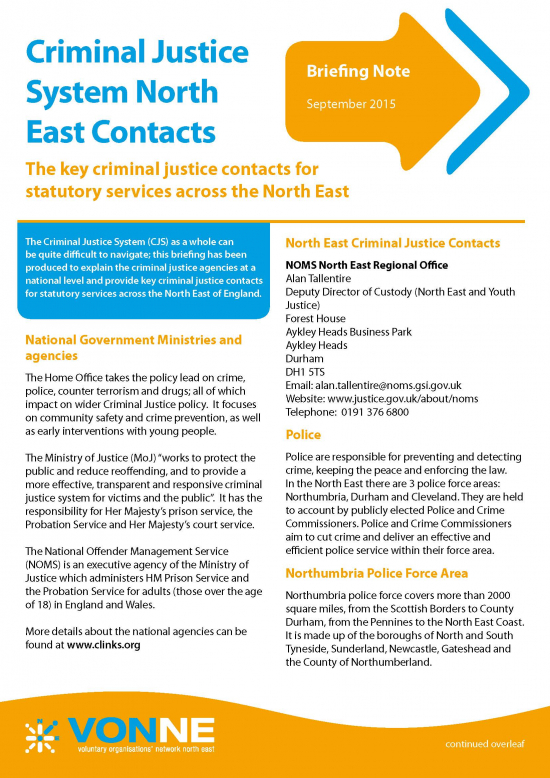 Criminal justice system North East contacts