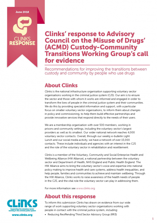 Advisory Council on the Misuse of Drugs Custody-Community Transitions Working Group's call for evidence cover image