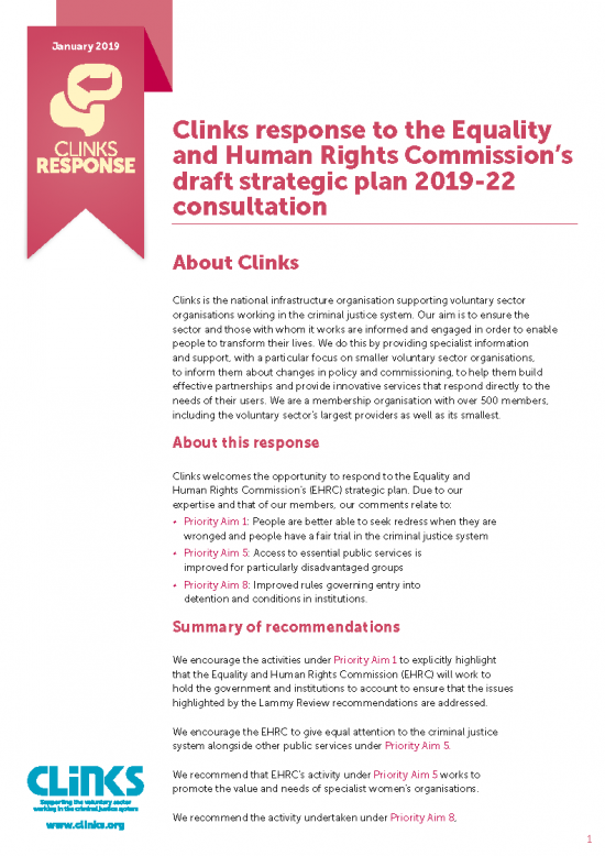 The Equality and Human Rights Commission's draft strategic plan consultation response front cover