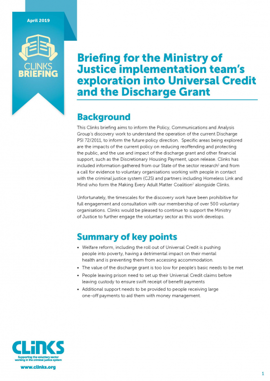 Briefing for the Ministry of Justice implementation team's exploration into Universal Credit and the Discharge Grant - cover image