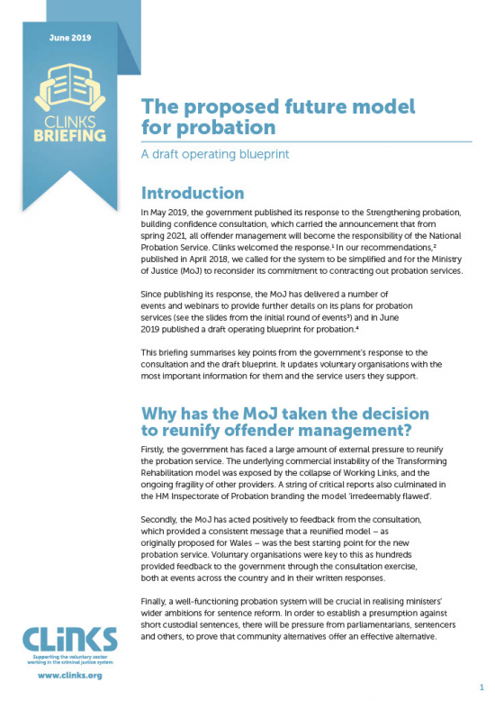 Clinks Briefing: The proposed future model for probation