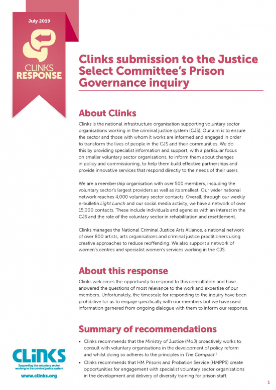 Clinks Response: Prison governance