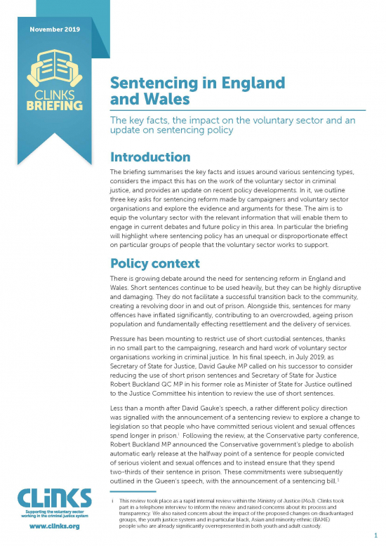 Sentencing in England and Wales cover image