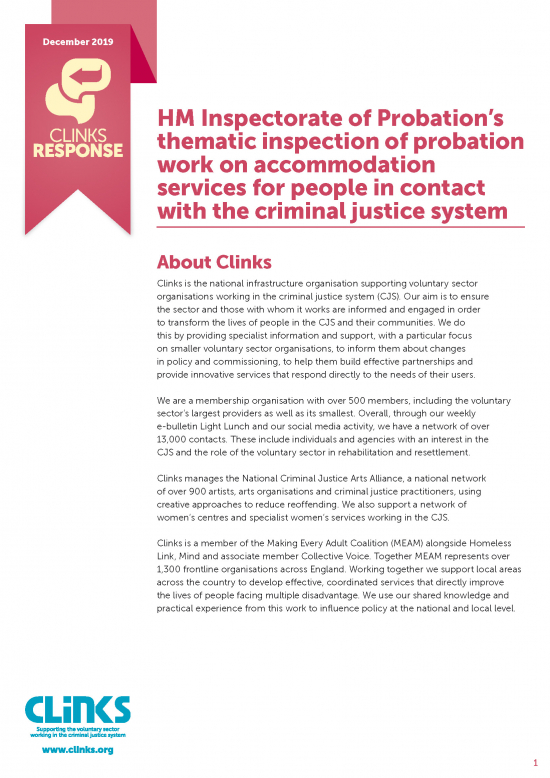 HM Inspectorate of Probation's thematic inspection of probation work on accommodation services for people in contact with the criminal justice system