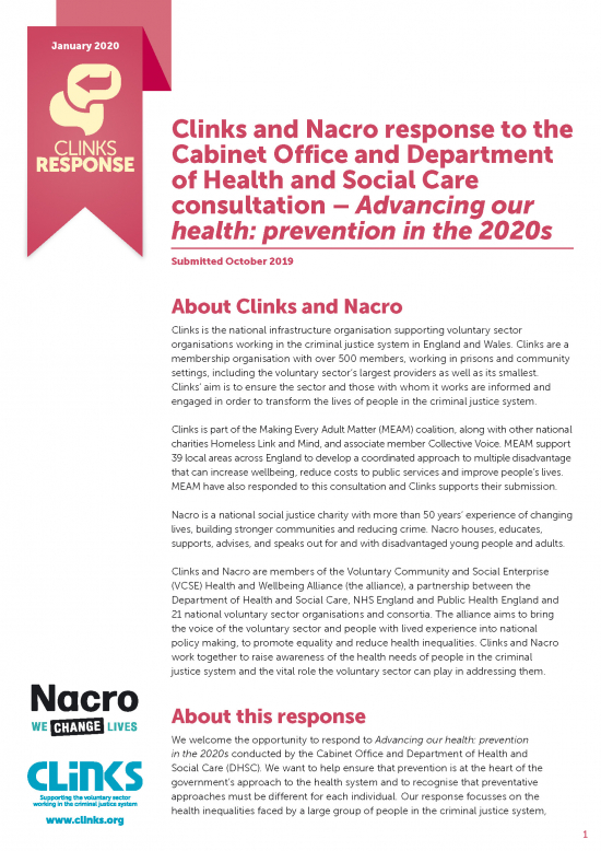 Clinks and Nacro Response: Advancing our health