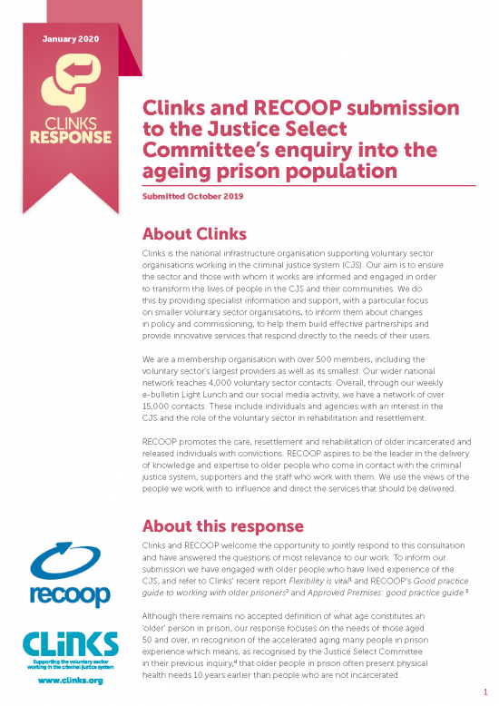 Clinks Response - the ageing prison population