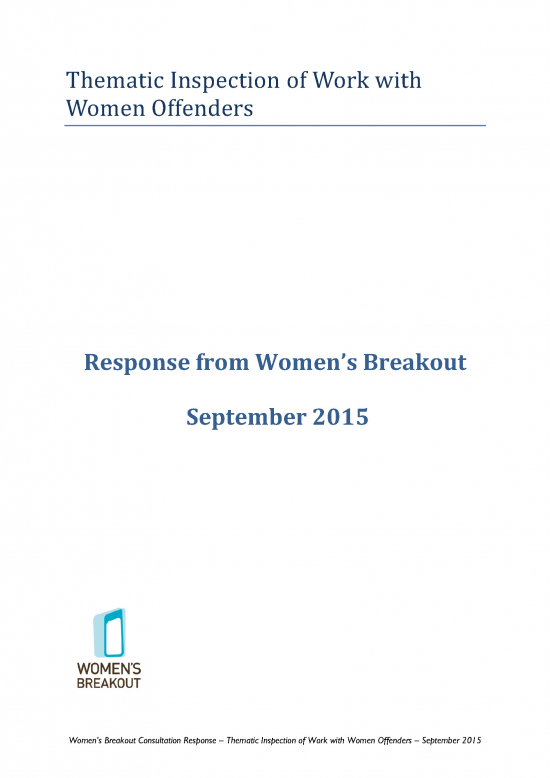 Women's Breakout response: HM Inspectorate of Probation's thematic inspection of work with women offenders