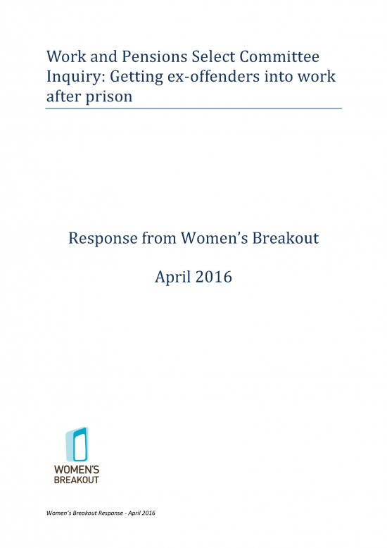 Women's Breakout response: Work and Pensions Select Committee Inquiry: Getting ex-offenders into work after prison