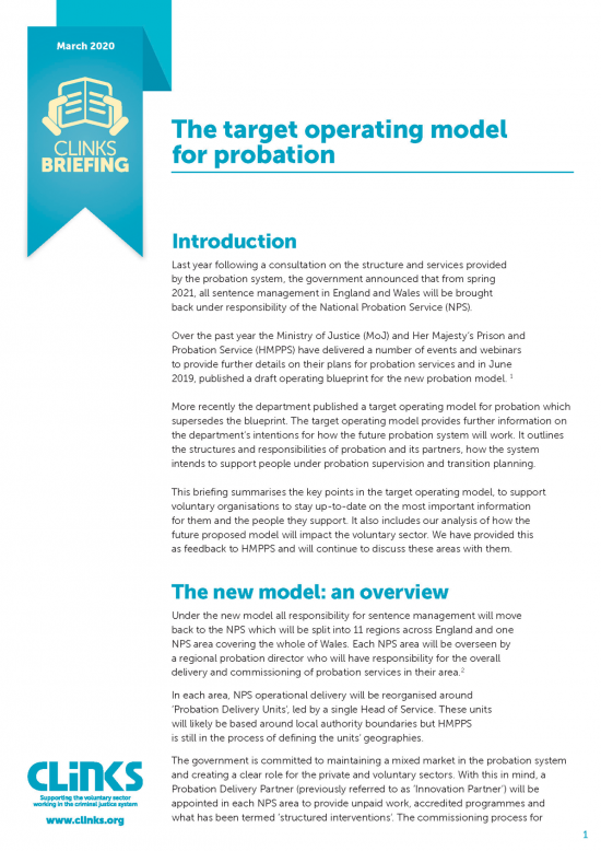 Clinks Briefing on the target operating model for probation