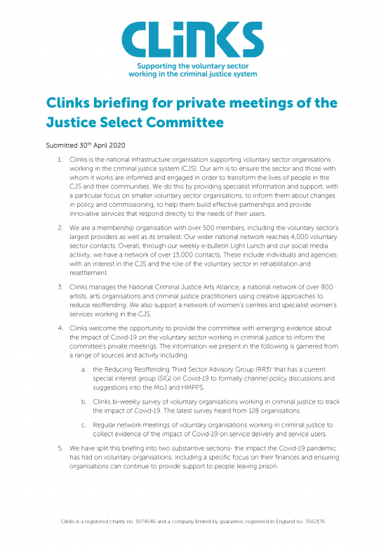 Clinks submission to the justice committee 30th April