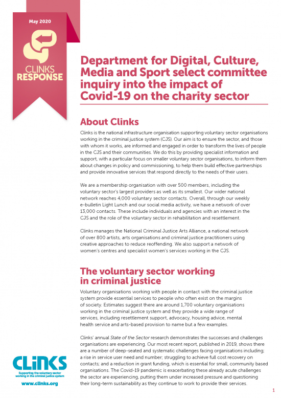 Department for Digital, Culture, Media and Sport select committee inquiry into the impact of Covid-19 on the charity sector