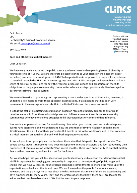 Clinks RR3 letter to Jo Farrar