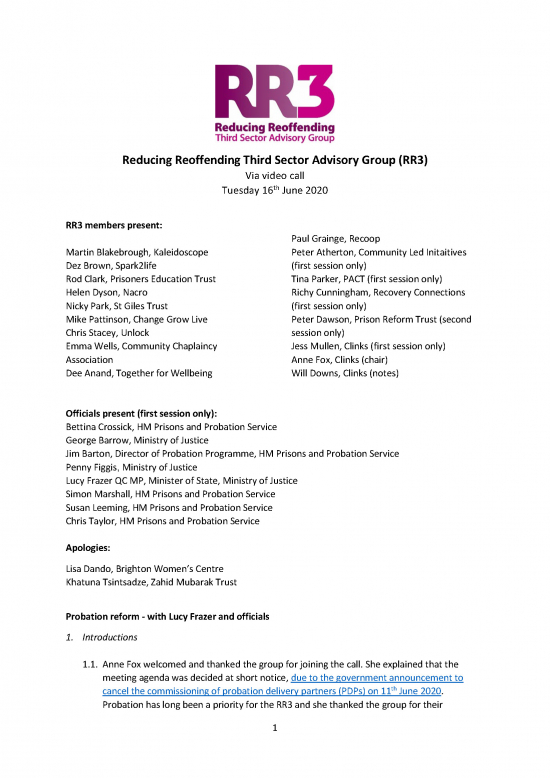 Notes from Reducing Reoffending Third Sector Advisory Group (RR3) meeting - cover image