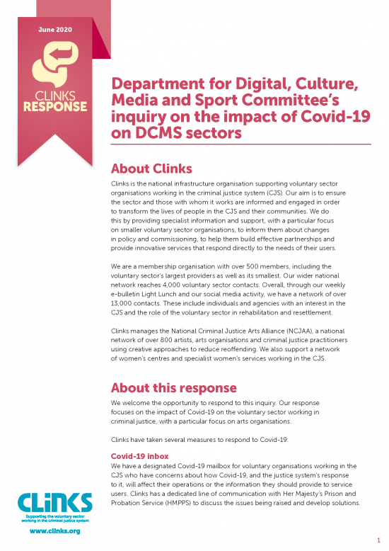 Department for Digital, Culture, Media and Sport Committee's inquiry on the impact of Covid-19 on DCMS sectors