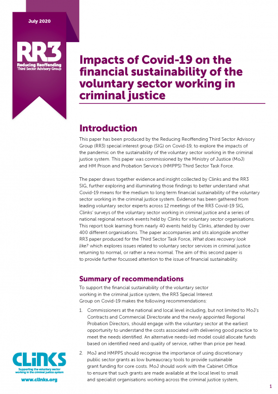 Impacts of Covid-19 on the financial sustainability of the voluntary sector working in criminal justice - cover image