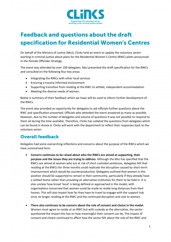 Feedback and questions about the draft specification for Residential Women's Centres