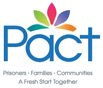 The Pact logo is made up of a range of coloured petals running across the top of the word 'Pact', in bright blue. The tagline reads, Prisoners, Families, Communities, A Fresh Start Together.